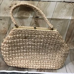 Vintage 1960s Straw Bag Lovely Interior